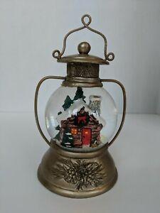 "Roman Inc 5.5"" Lantern Water Globe Snowglobe Glitter Dome w Log Cabin Christmas"