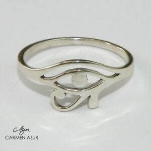 Solid 925 Sterling Silver Ring Eye of Horus Size L,L1/2,N1/2,O,P1/2,Q + Gift Bag