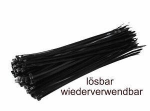 Kabelbinder wiederverwendbar ab 5 Stück wiederlösbar schwarz verschiedene Größen