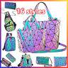 丿Geometric Luminous Backpacks Holographic Reflective Bag Irredescent Crossbody