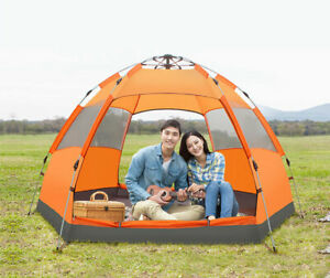 5-6 Person Dual Layers Anti Heavy Rain Sun Proof 6 Corners Camping AutomaticTent