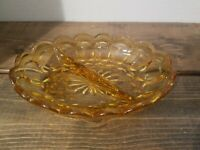 Vintage Amber Starburst Pressed Glass Divided Relish Tray / Dish 7 x 5