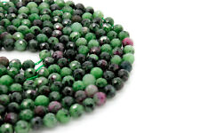 Red Green Ruby Zoisite Faceted Sphere Ball Round Natural Gemstone Beads Stone