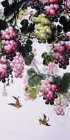 Grape fruit&Birds lover-ORIENTAL ASIAN FINE ART CHINESE WATERCOLOR PAINTING