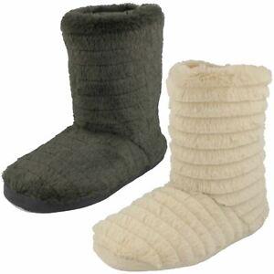 Ladies Spot On 'X2049' Fluffy Slipper Boots