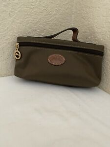 Longchamp Le Pliage Olive Green Nylon Brown Leather Trim Pouch Cosmetic Bag