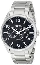 Citizen Eco Drive AO9020-84E Day/Date Black Dial Stainless Steel Men's Watch