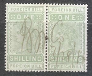 Great Britain Foreign Bill One Shilling used stamps pair 1887