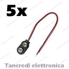 5 pezzi connettore a clip batteria 9V con fili in plastica rigida 9 volt battery