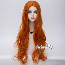 Lolita Women Pretty 80cm Long Wavy Orange Cosplay Wig+Cap
