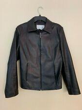 Nine West Women's Black Leather Fitted Jacket Size Medium