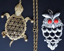 Vintage Gold Filled Turtle Owl Moveable Pendant Costume Chain Necklace lot set