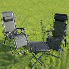 2x Garden Folding Textoline Sun Lounger Recliner Beach Chair 1x Cup Holder Table