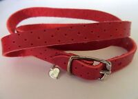 Red Leather Wrap Around Bracelet with 925 Silver Buckle with Hanging Heart