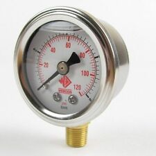 EFI FUEL PRESSURE GAUGE 1-8 BAR/0-120PSI 1/8 NPTF FUEL INJECTION - FLUID FILLED