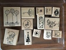 Stampin' Up Holiday Set Cheers Birthday Sentiments 13 New Mounted