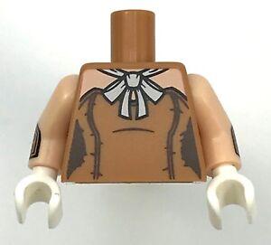 LEGO NEW MEDIUM DARK FLESH MINIFIGURE TORSO BATMAN FEMALE DRESS WHITE HANDS