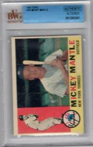 1960 Topps #350 Mickey Mantle BGS Authentic Altered Clean Card - But Small W10