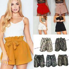 Womens High Waist Belt Paper Bag Shorts Ladies Summer Hot Pants Snake Geometric
