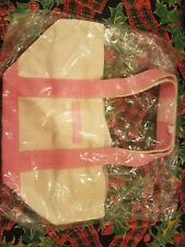Crabtree & Evelyn Canvas Linen Gift Set Bag Pink Cosmetic Travel Purse Shopping