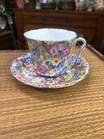 Antique Vintage Boho Bohemian Chintz English Teacup Tea Cup And Saucer