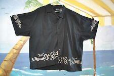 Earnest Ray Tropics Tribal Black Button Down Mens Dress Shirt Mens M