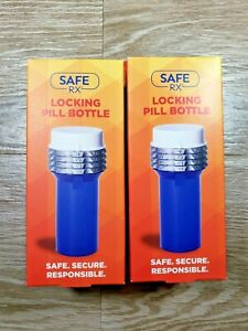 Lot of 2 SafeRX Locking Pill Bottle Blue Large