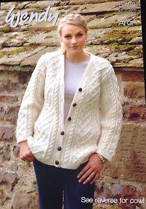 """Wendy Knitting Pattern 5704 Men/ Ladies Aran Cardigan   32/46"""""""