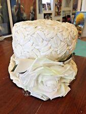 VTG WOMENS FANCY DERBY CHURCH  HAT~FLORAL DESIGN CREAM WHITE