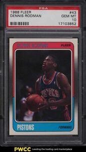 1988 Fleer Basketball Dennis Rodman ROOKIE RC #43 PSA 10 GEM MINT