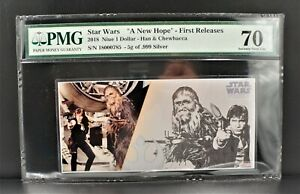 2018 NUIE $1 STAR WARS Ham & Chewbacca Banknote First Releases PMG 70