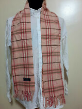 Burberry London Scarf Lambswool England Nova Check Pink Plaid 158 cm 30cm authen