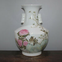 Chinese Old Famille Rose Colored Flowers & Birds Two-Ear Pattern Porcelain Vase
