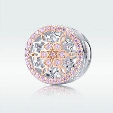 Flower 925 Rose Gold Plated CZ Charm Bead Sterling Pendant Fit Necklace Bracelet