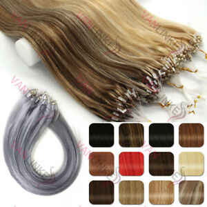 100s Micro Ring Beads Easy Loop Tip Ombre Remy Human Hair Extensions Straight