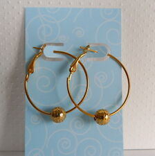 1 1/4 inch Gold Hoop Earrings Gold Hammered Beads Basketball Wives Insp.
