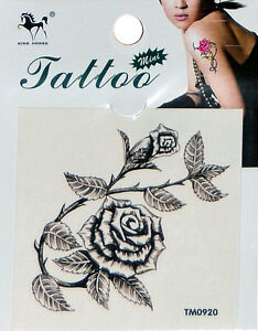 Temporary Tattoo Rose and Thorn. High Quality.