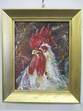 """Rooster"" oil on canvas, listed artist Irek T. Szelag"