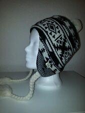 Neu Billabong Mütze Damen Kinder Bommel schwarz weiß Polyacryl