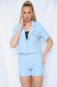 TEXTURED BUTTON FRONT JACKET & SHORTS CO-ORD SET - BLUE
