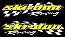 "Ski-doo racing checker snowmobile 2 sticker decal set 5"" x 22"" white"