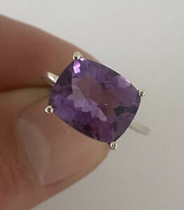 Silver 6ct Faceted Amethyst Ring