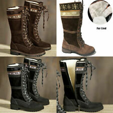 Women's Winter Warm Fur Lined Snow Boots Ladies Lace Up Zip Cotton Booties Shoes