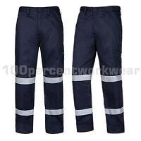 Aqua Mens Navy Blue High Visibility Polycotton Cargo Work Trousers Pants Hi Viz