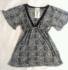 blouse flare white black gray flare v neck cotton floral