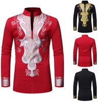 Stylish Mens Dashiki Shirts Long Sleeve Boho Tops Mens African Graphic Blous Top