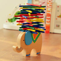 Blalance Games Montessori Wooden Toys Elephant Shape for Kids Baby Develop
