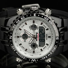 Infantry Mens LCD Digital Quartz Wrist Watch Chronograph Date Sport Rubber White