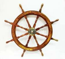 "36"" Nautical Marine Wooden Ship Steering Wheel Pirate Captain Ship Wall Decor"