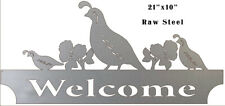 Vintage Antique Style Metal Sign Welcome Quails 10x21